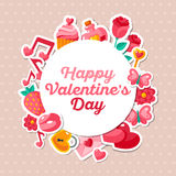 Valentine Banner Flat Icons and Circle Frame. Stock Photo