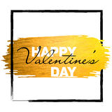 Valentine banner with gold glitter paint stroke. Happy Valentine`s day Royalty Free Stock Image