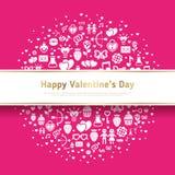 Valentine Banner mit flachen Ikonen im Kreis Stockfoto