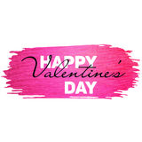 Valentine banner with pink glitter paint stroke. Happy Valentine`s day Stock Image