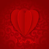 Valentine banner with red paper volume application heart Stock Images
