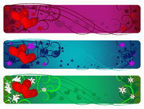 Valentine banner set. Day, evening and night Royalty Free Stock Images
