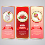 Valentine banner. Set of valentine banner. Item is jar of sweets, bouquet, packaging. file in eps 10 file, with no gradient meshes, blends ,opacity, stroke path Stock Image