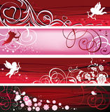 Valentine Banners. All elements and textures are individual objects. Vector illustration scale to any size Royalty Free Stock Photo