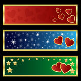 Valentine banners. Set of three horizontal Valentine banners with hearts,stars and golden borders, isolated on black background.EPS file available Vector Illustration