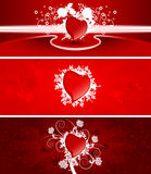 Valentine banners. Color Saint Valentine's banners with snow scrolls and heart shapes vector illustration