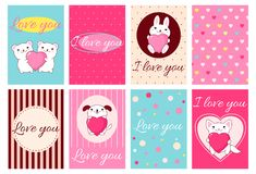 Valentine banners with cute animals Stock Photography