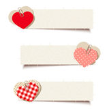 Valentine-banners met document en voddenharten Vector eps-10 Stock Afbeelding