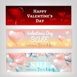 Valentine Banners Set Images libres de droits