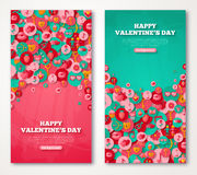 Valentine Banners Set Icons in Circles Royalty Free Stock Photo