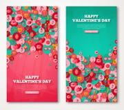 Valentine Banners Set Icons nei cerchi Fotografia Stock Libera da Diritti