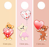 valentine banners with teddy bears and hearts Royalty Free Stock Images