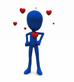 Valentine Be mine. 3d render of Valentines character with love hearts Royalty Free Stock Photo