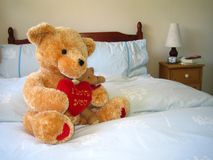 Valentine Bear. 'I love you' Bear on Bed stock photography