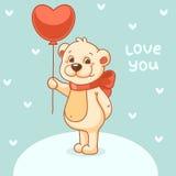 Valentine with bear on blue background. Cute polar bear with balloon Royalty Free Stock Photos