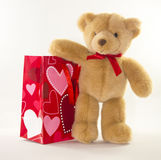 Valentine Bear with Gift Bag Royalty Free Stock Photography