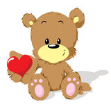 Valentine bear with heart Stock Photos