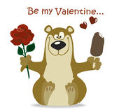 Valentine bear with red flower Stock Images