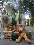 Valentine Bear-Sitzen und -mageres auf Blumenkorb Stockbilder