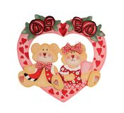 Valentine Bears. Valentine decoration of bears sitting in a heart isolated on white Stock Images