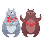 Valentine Bears avec le collier des coeurs, fleurs Photographie stock libre de droits