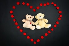 Valentine bears in petal heart - Series 1 Stock Photography
