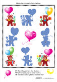 Valentine bears shadow game Royalty Free Stock Image