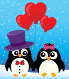Valentine-beeld 2 van het pinguïnenthema Stock Foto's