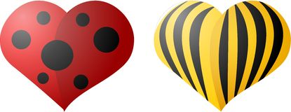 Valentine beetles. Two illustration of heart-shaped beetles Stock Photography