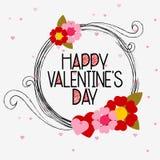 Valentine-berichtkalligrafie in de cirkel van grungelijnen Royalty-vrije Stock Afbeelding