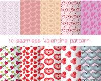 10 valentine bezszwowy wzór Zdjęcie Stock