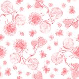 Valentine bicycles with hearts balloons and flowers bouquets. Seamless pattern, monochrome red stock photos