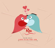 Valentine bird couple kissed lovely Stock Photography
