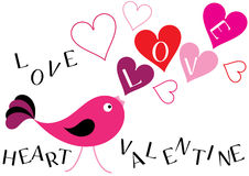 Valentine bird and hearts background Royalty Free Stock Images