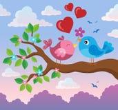 Valentine birds on branch theme 2 Royalty Free Stock Image