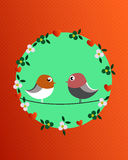 Valentine birds and flowers stock illustration