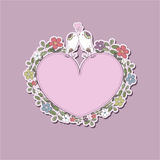 Valentine with birds. Pink heart-two love birds and flowers Royalty Free Stock Photo