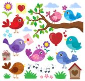 Valentine birds theme set 1 Stock Image