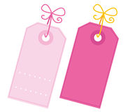 Valentine blank pink tags set isolated on white Stock Image