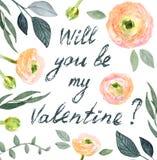 Valentine-bloemkaart Royalty-vrije Stock Foto's