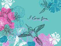 Valentine blue and pink floral background. Valentine hand drawing blue and pink background with flowers Royalty Free Stock Images