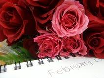 Valentine-boeket en Februari-kalender Royalty-vrije Stock Afbeelding