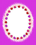 Valentine Border #2. An oval Valentine's Day border on purple canvas background Vector Illustration