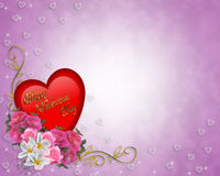 Valentine Border Heart and Flowers Royalty Free Stock Image