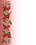 Valentine Border Hearts flowers Royalty Free Stock Photo