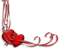 Valentine Border Hearts and Ribbons  Royalty Free Stock Photography