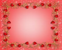Valentine Border red hearts. 3D Valentine illustration with hearts for card, border or background with copy space Stock Images