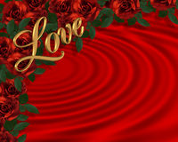 Valentine border Romantic Red Roses royalty free stock photography