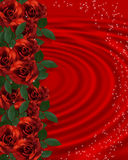 Valentine border Romantic Red Roses Stock Photos