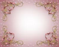 Valentine Border or Wedding card. 3D Illustrated Ribbons design  for Valentine or wedding invitation, background, border or frame Stock Photo
